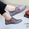 รองเท้าผ้าใบเกาหลีสีเทา soft&comfort แต่งซิป พื้นถอดได้(ผ้าใบยืด) 8262-เทา
