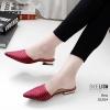 รองเท้าส้นเตี้ยสีแดง ซาร่าห์หน้าเรียว ส้นทอง LB-10204-แดง