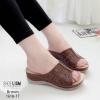 รองเท้าส้นเตารีดสีน้ำตาล งานโนกาว 1618-17-น้ำตาล