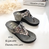 รองเท้าแตะลำลองวัสดุหนังนิ่มแบบคีบ L2768-เงิน (สีเงิน)
