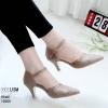 รองเท้าส้นสูงสีกากี ฉลุลาย รัดข้อ LB-10200-กากี