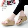 รองเท้าลำลองส้นเตารีดแบบคีบสีครีม LB-268-ครีม