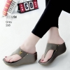 รองเท้าลำลองส้นเตารีดแบบคีบสีเทา LB-268-เทา