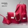 กระเป๋าเป้ผ้่าไนล่อนแบบเซ็ท ซื้อใบใหญ่ แถมกระเป๋าใบเล็ก 2 ใบ BAG-070 -แดง (สีแดง)