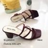 รองเท้าส้นสูงวัสดุหนังนิ่มสีแดง ดีไซน์งานเส้น 998-02-แดง