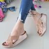 รองเท้าแตะพื้นสุขภาพสีแดงกุหลาบ หน้าไขว้สวยหรู 6651-581-ROSE
