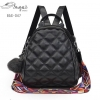 แบบมาใหม่ กระเป๋าเป้หนัง PU มีสายสะพาย 2 แบบ BAG-047-ดำ (สีดำ)
