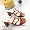รองเท้าส้นสูงวัสดุหนังนิ่มสีตาล ดีไซน์งานเส้น 998-02-ตาล
