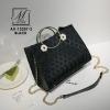 กระเป๋าสะพายกระเป๋าถือ แฟชั่นนำเข้าดีไซน์เรียบหรู AX-12207-2-BLK (สีดำ)