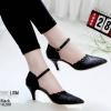 รองเท้าส้นสูงสีดำ ฉลุลาย รัดข้อ LB-10200-ดำ