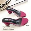 รองเท้าส้นสูงแบบสวมสีชมพู พลาสติกใสนิ่ม RU45-ชมพู