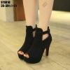 รองเท้าส้นสูงสีดำ หุ้มส้นรัดข้อ ST8818-BLK