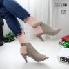 รองเท้าส้นสูงหน้าเต็มสีเทา งานสไตล์ปราด้า รัดข้อ LB-1202-เทา
