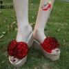รองเท้าส้นเตารีดสีแดง แบบสวม ST019-RED