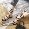 รองเท้าแตะแตะพันขาสีดำ Q-03-ดำ