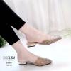 รองเท้าหัวแหลมสีน้ำตาล ส้นทอง สไตล์ซาร่าห์ LB-10210-น้ำตาล