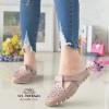 รองเท้าส้นเตี้ยสีกากี สลิปออนเปิดส้น 321-998-KHAKI