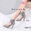 รองเท้าส้นสูงสีเทา รัดข้อ 17-2324-GRA