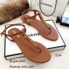รองเท้าแตะวัสดุหนังนิ่มแบบคีบสีแทน Style 5534-แทน