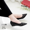 รองเท้าส้นเตารีดสีดำ หน้าเรียว 28-298-ดำ