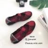 รองเท้าผ้าใบวัสดุผ้ายืดสังเคราะห์สีแดง แต่งสายคาดดีไซน์แบบไขว้ MS238-แดง