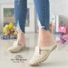 รองเท้าส้นเตี้ยสีแอปริคอท สลิปออนเปิดส้น 321-998-APR