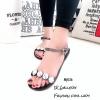 รองเท้าแตะยางซิลิโคนใสนิ่มหน้าเพชรรัดข้อ MJ036-ดำ (สีดำ)