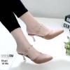 รองเท้าส้นสูงสีกากี ส้นทรงแก้วไวน์ LB-10186-กากี
