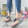รองเท้าแตะพื้นสุขภาพสีเทา งานเย็บหน้ากุหลาบ 992-30-GREY
