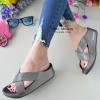 รองเท้าแตะพื้นสุขภาพสีเทา หน้าไขว้สวยหรู 6651-581-GREY