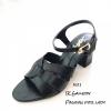 รองเท้าส้นตันรัดข้อสีดำ สไตล์ FT513-ดำ