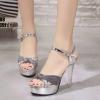 รองเท้าส้นสูงรัดข้อเปิดท้ายสีเงิน LB-ST208-SIL