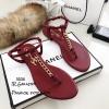 รองเท้าแตะวัสดุหนังนิ่มแบบคีบสีแดง Style 5534-แดง