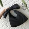 กระเป๋าสะพายกระเป๋าถือ แฟชั่นงานนำเข้าแต่งโบว์ใหญ่ MB18-00906-BLK (สีดำ)
