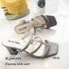 รองเท้าส้นสูงวัสดุหนังนิ่มสีเทา ดีไซน์งานเส้น 998-02-เทา