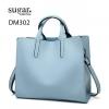 กระเป๋าสะพายผู้หญิงหนังอยู่ทรง มีแบบหนังเงาและหนังด้าน DM302-ฟ้า (สีฟ้า)