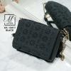 กระเป๋าสะพายกระเป๋าถือ แฟชั่นนำเข้าฉลุลายสไตล์เกาหลีสุดน่ารัก AX-12411-BLK [สีดำ]