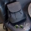 กระเป๋าเป้แฟชั่นนำเข้าพิมพ์ลายแบบสานสวยเก๋ส์ MB18-01703-BLK (สีดำ)