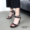 รองเท้าส้นเข็มรัดข้อสีดำ ปิดส้น คาดเส้น LB-938-62-BLK