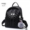 กระเป๋าเป้ผู้หญิงหนัง pu เย็บลายข้ามหลามตัดด้านหน้า BAG-074-ดำ (สีดำ)