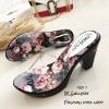 รองเท้าส้นสูงหน้าใสสีเทา พื้นลายดอก 7801-7-เทา