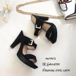 รองเท้าส้นสูงคาดเข็มขัด HW19412-ดำ (สีดำ)