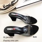 รองเท้าส้นสูงแบบสวมสีดำ พลาสติกใสนิ่ม RU45-ดำ