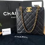 Chanel Vintage Big Logo Caviar Tote