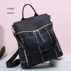 แบบขายดี ทรงสุดฮิต กระเป๋าเป้ผู้หญิงลายสก็อต MM264-น้ำเงิน (สีน้ำเงิน)