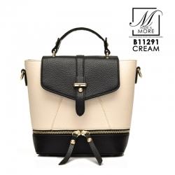 กระเป๋าสะพายเป้กระเป๋าถือ เป้แฟชั่นแบบยอดฮิต B11291-CRM (สีครีม)