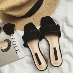 พร้อมส่ง รองเท้าส้นตันสีดำ เปิดส้น พื้นยางลายไม้ แฟชั่นเกาหลี [สีดำ ]