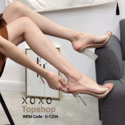 พร้อมส่ง รองเท้าส้นสูง ส้นแก้ว G-1204-APR [สีแอปริคอท]