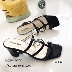 รองเท้าส้นสูงวัสดุหนังนิ่มสีดำ ดีไซน์งานเส้น 998-02-ดำ