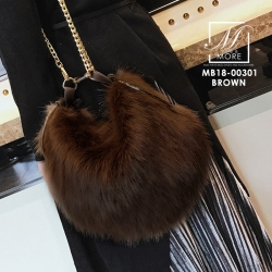 กระเป๋าสะพายกระเป๋าถือกระเป๋าขน แฟชั่นนำเข้าทรงกลมแบบขน fur สุดนุ่ม MB18-00301-BRO (สีน้ำตาล)